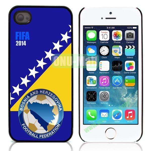 2014 FIFA World Cup Pattern Design Aluminum Coated PC Hard Case for iPhone 55S (Herzegovina Flag)