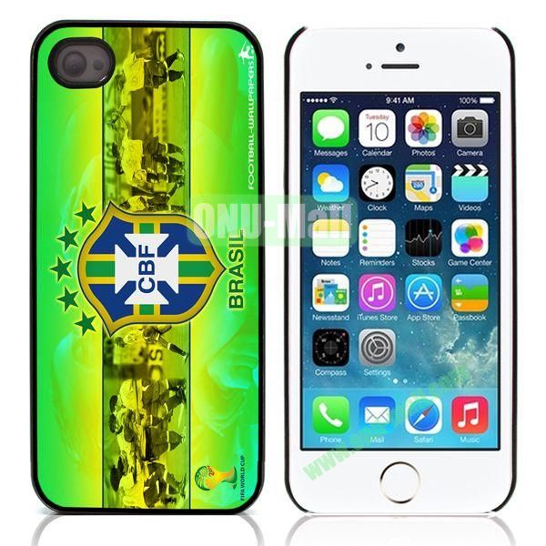 Brasil 2014 FIFA World Cup Pattern Design Aluminum Coated PC Hard Case for iPhone 55S