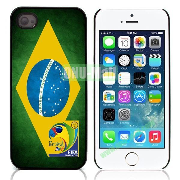 2014 FIFA World Cup Aluminum Coated PC Hard Case for iPhone 55S  (Brazil Flag)