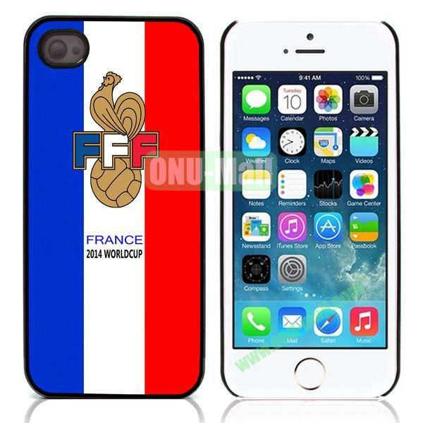 2014 FIFA World Cup Aluminum Coated PC Hard Case for iPhone 55S (France FFF Pattern)