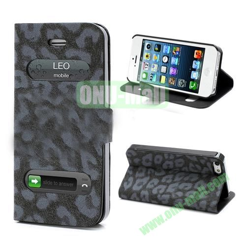 Leopard Pattern Leather Case for iPhone 5S  5 (Black)