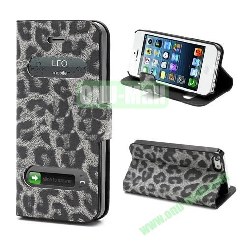 Leopard Pattern Leather Case for iPhone 5S  5 (Grey)