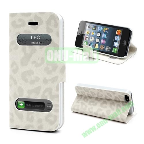 Leopard Pattern Leather Case for iPhone 5S  5 (White)