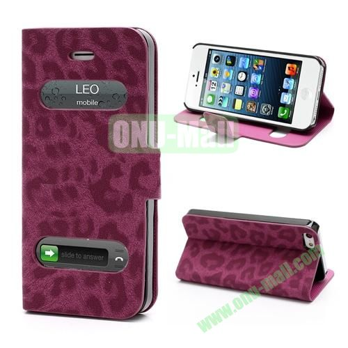 Leopard Pattern Leather Case for iPhone 5S  5 (Red)