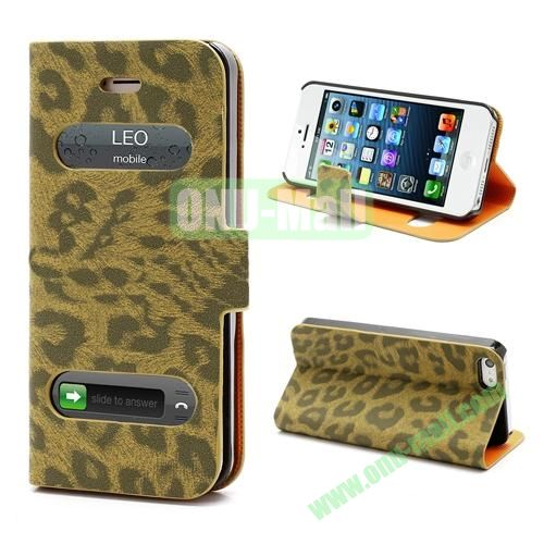 Leopard Pattern Leather Case for iPhone 5S  5 (Brown)