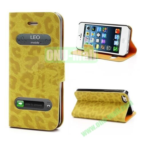 Leopard Pattern Leather Case for iPhone 5S  5 (Yellow)