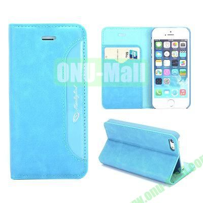 Luxury Side Flip Stand PC+Leather Case for iPhone 5 5S with Cad Slots (Blue)