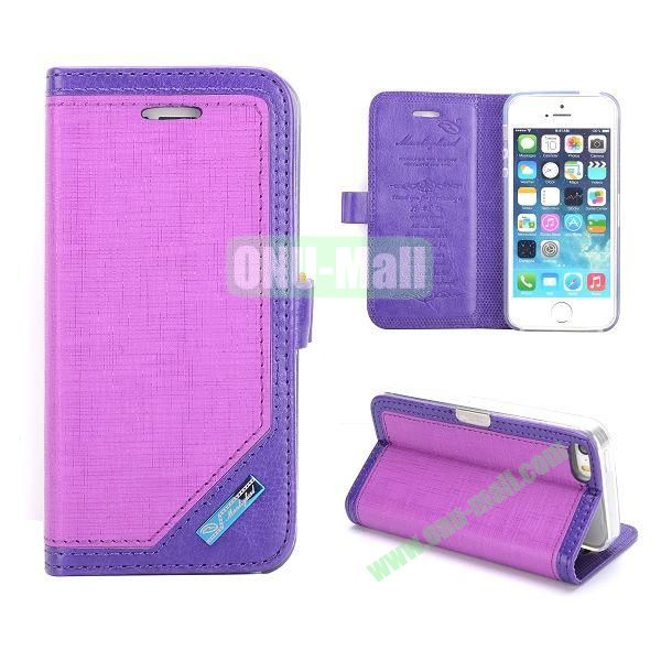 Silk Texture Magnetic Side Flip Leather Case for iPhone 5 5S (Purple)
