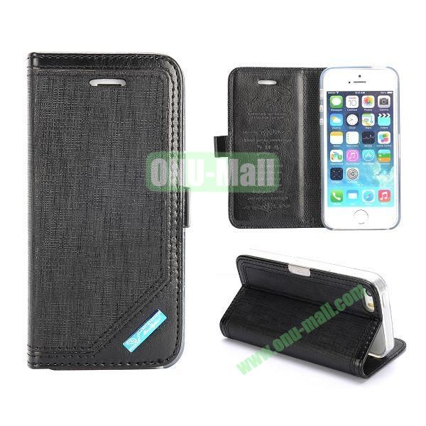 Silk Texture Magnetic Side Flip Leather Case for iPhone 5 5S (Black)