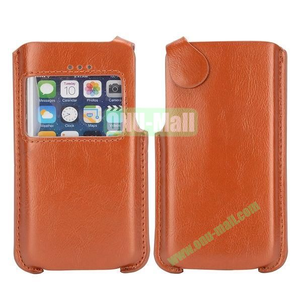 Magnetic Buckle Caller Display Leather Pouch for iPhone 5 5C 5S (Brown)