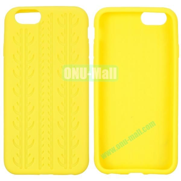 Tyre Tread Texture Soft Gel Silicone Case for iPhone 6 4.7 inch (Yellow)