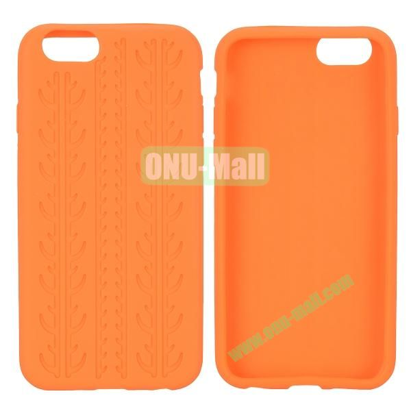 Tyre Tread Texture Soft Gel Silicone Case for iPhone 6 4.7 inch (Orange)
