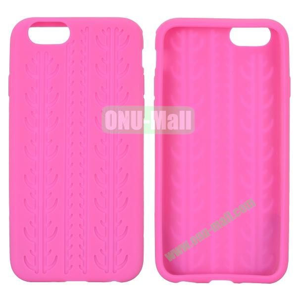 Tyre Tread Texture Soft Gel Silicone Case for iPhone 6 Plus 5.5 inch (Rose)