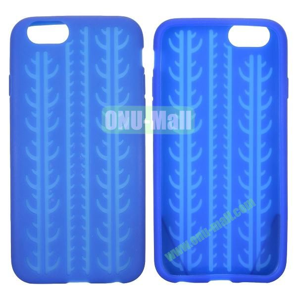 Tyre Tread Texture Soft Gel Silicone Case for iPhone 6 Plus 5.5 inch (Dark Blue)