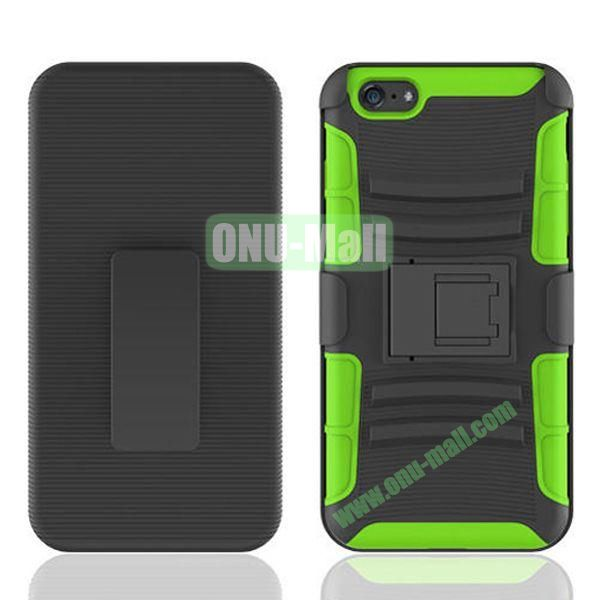 Hot Sale Snap-on Rubber Belt Clip Holster Backup Case for iPhone 6 Plus 5.5 inch (Black+Green)