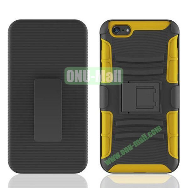 Hot Sale Snap-on Rubber Belt Clip Holster Backup Case for iPhone 6 Plus 5.5 inch (Black+Yellow)