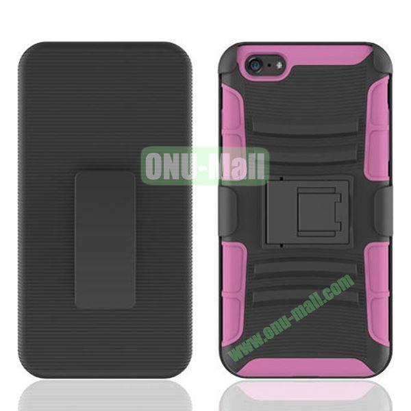 Hot Sale Snap-on Rubber Belt Clip Holster Backup Case for iPhone 6 4.7 inch (Black+Pink)