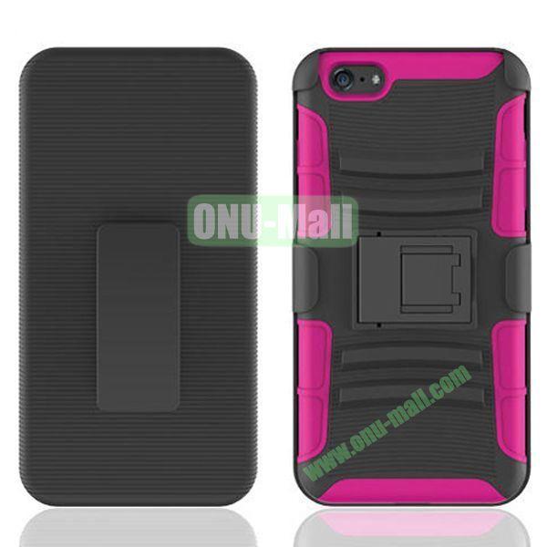 Hot Sale Snap-on Rubber Belt Clip Holster Backup Case for iPhone 6 Plus 5.5 inch (Black+Rose)