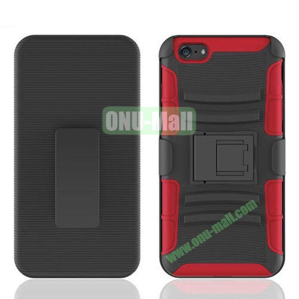 Hot Sale Snap-on Rubber Belt Clip Holster Backup Case for iPhone 6 Plus 5.5 inch (Black+Red)