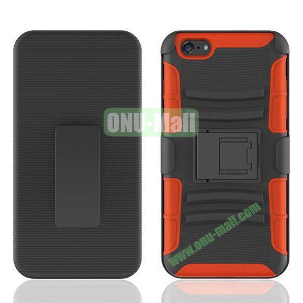 Hot Sale Snap-on Rubber Belt Clip Holster Backup Case for iPhone 6 4.7 inch (Black+Orange)