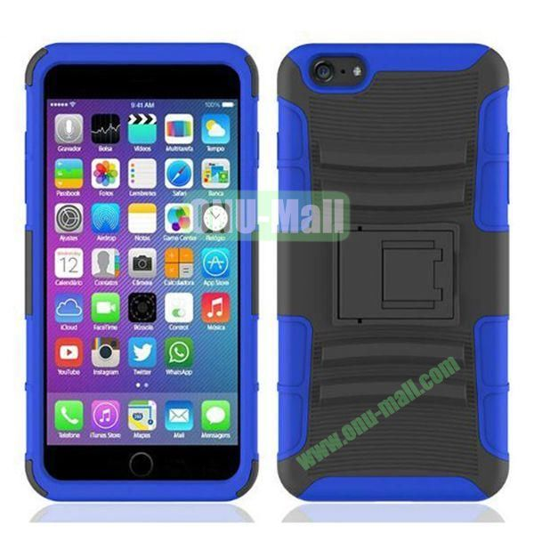 Hot Sale Snap-on Rubber Belt Clip Holster Backup Case for iPhone 6 Plus 5.5 inch (Black+Blue)
