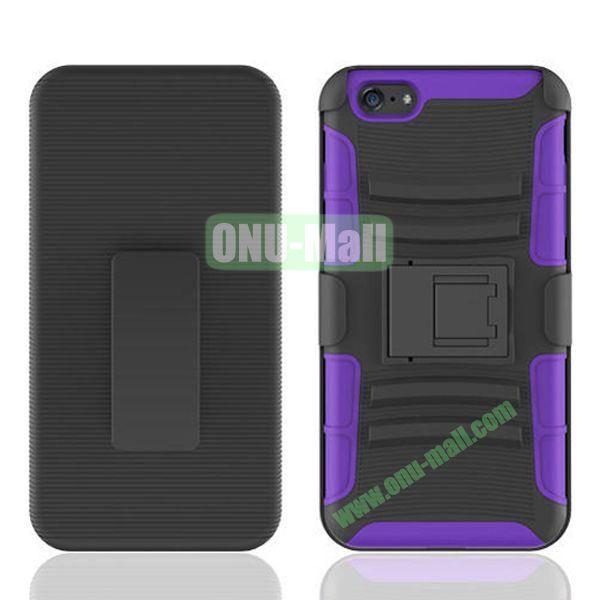 Hot Sale Snap-on Rubber Belt Clip Holster Backup Case for iPhone 6 4.7 inch (Black+Purple)