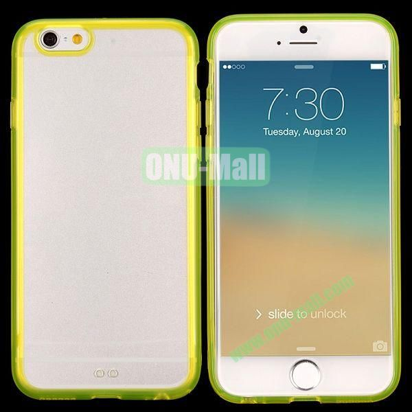 Transparent PC + TPU Back Case for iPhone 6 4.7 inch (Yellow)