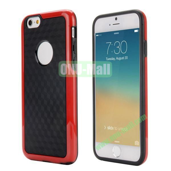 Dual Color 3D Cube Pattern Protective PC + TPU Hybrid Case for iPhone 6 4.7 inch  (Red+Black)