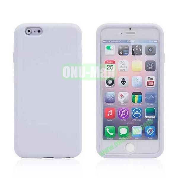 Double Side Transparent Flip TPU Case for iPhone 6 Plus 5.5 inch (White)