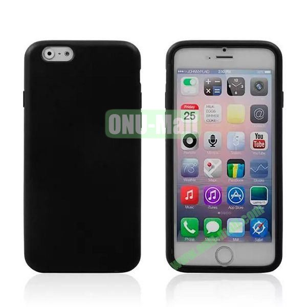Double Side Transparent Flip TPU Case for iPhone 6 Plus 5.5 inch (Black)