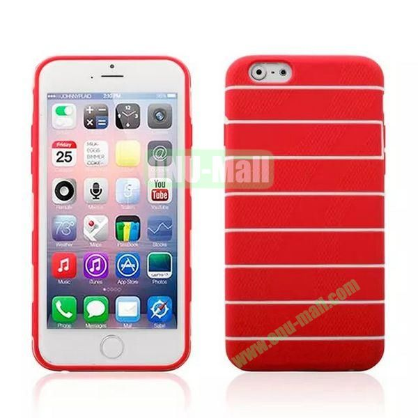 Stripes Style Pattern TPU Case for iPhone 6 Plus 5.5 inch (Red)