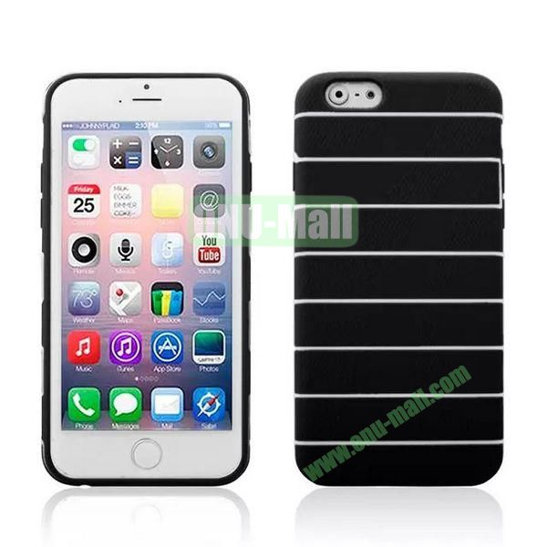 Stripes Style Pattern TPU Case for iPhone 6 Plus 5.5 inch (Black)