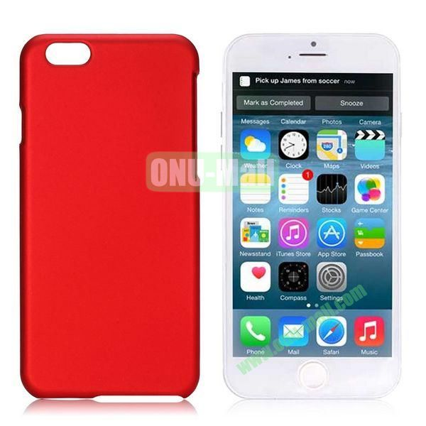 Simple Solid Color Rubber Coated PC Hard Case for iPhone 6 Plus 5.5 inch (Red)