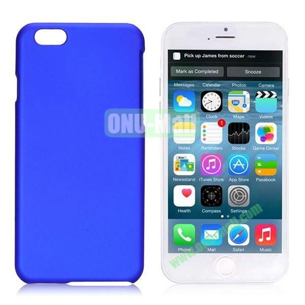 Simple Solid Color Rubber Coated PC Hard Case for iPhone 6 4.7 inch  (Dark Blue)