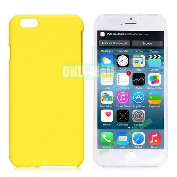 Simple Solid Color Rubber Coated PC Hard Case for iPhone 6 Plus 5.5 inch (Yellow)
