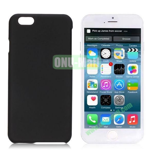 Simple Solid Color Rubber Coated PC Hard Case for iPhone 6 4.7 inch  (Black)