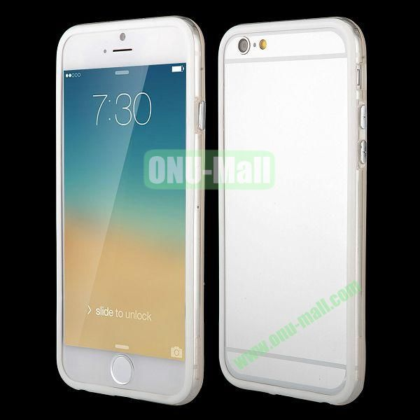 Wholesale! Backless Bumper Frame Hybrid TPU + PC Case for iPhone 6 Plus 5.5 inch (White+Transparent)