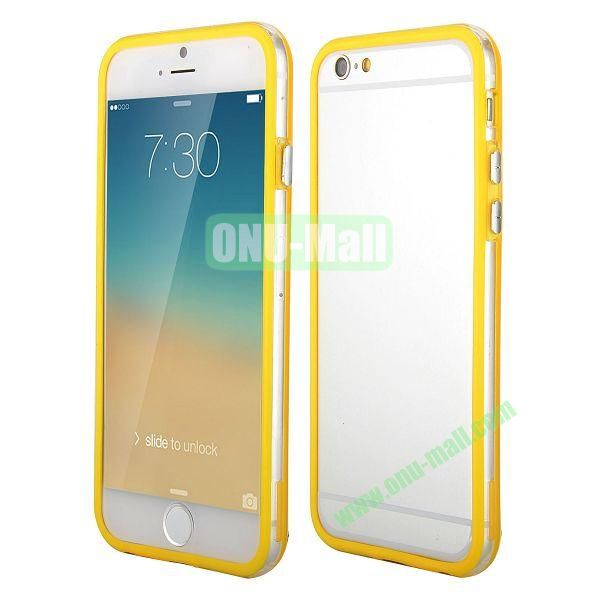 Wholesale! Backless Bumper Frame Hybrid TPU + PC Case for iPhone 6 Plus 5.5 inch (Yellow+Transparent)