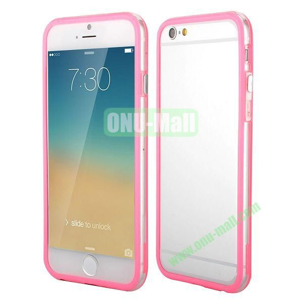 Wholesale! Backless Bumper Frame Hybrid TPU + PC Case for iPhone 6 Plus 5.5 inch (Pink+Transparent)