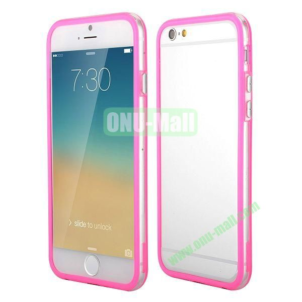 Wholesale! Backless Bumper Frame Hybrid TPU + PC Case for iPhone 6 4.7 inch  (Rose+Transparent)