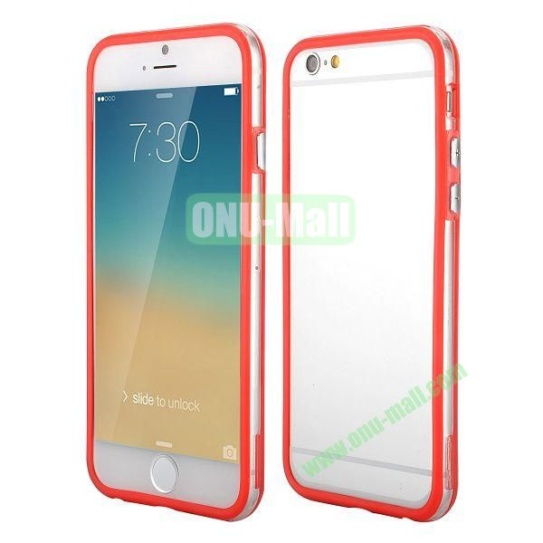 Wholesale! Backless Bumper Frame Hybrid TPU + PC Case for iPhone 6 4.7 inch  (Red+Transparent)