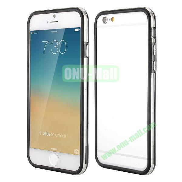 Wholesale! Backless Bumper Frame Hybrid TPU + PC Case for iPhone 6 Plus 5.5 inch (Black+Transparent)