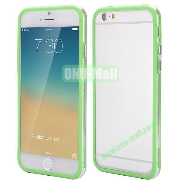 Wholesale! Backless Bumper Frame Hybrid TPU + PC Case for iPhone 6 Plus 5.5 inch (Green+Transparent)