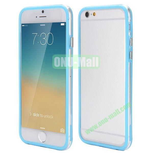 Wholesale! Backless Bumper Frame Hybrid TPU + PC Case for iPhone 6 Plus 5.5 inch (Blue+Transparent)