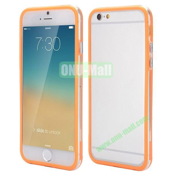 Wholesale! Backless Bumper Frame Hybrid TPU + PC Case for iPhone 6 Plus 5.5 inch (Orange+Transparent)