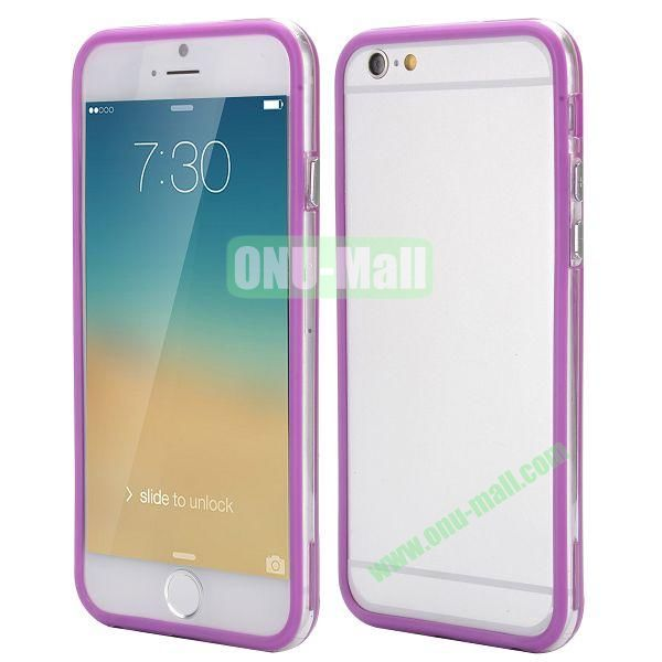 Wholesale! Backless Bumper Frame Hybrid TPU + PC Case for iPhone 6 Plus 5.5 inch (Purple+Transparent)