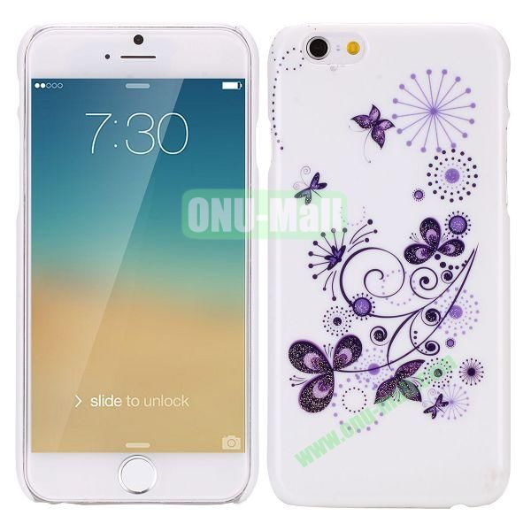 Glitter Powder Romantic Pattern PC Hard Case for iPhone 6 Plus 5.5 inch (Flower and Butterfly)