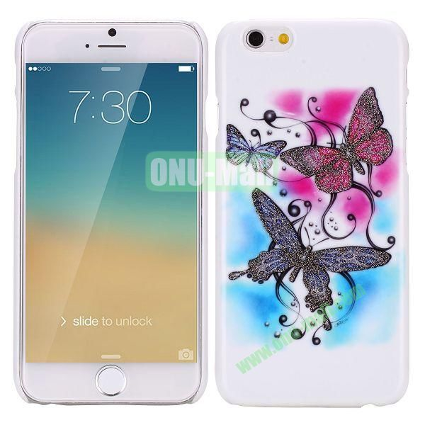 Glitter Powder Romantic Pattern PC Hard Case for iPhone 6 Plus 5.5 inch(Three Butterflies)