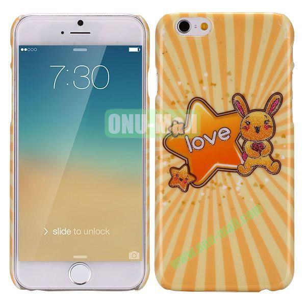 Glitter Powder Romantic Pattern PC Hard Case for iPhone 6 5.5 Inch (Cute Rabbit and Star)