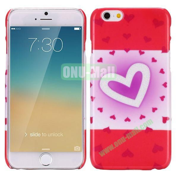 Glitter Powder Romantic Pattern PC Hard Case for iPhone 6 Plus 5.5 inch (Red Heart)